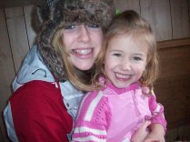 Cousin Claire, left, with Serina in Glenwood, MN, winter 2008.