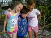 Serina, far right, with cousins Lena and Riordan at SeaWorld.