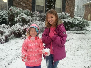 serina and sophia in the snow