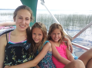 Serina, right, with cousins, Leah, center, and Emma.