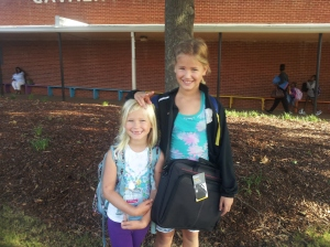 Sophia, left, is in first grade this year; Serina, is in third.
