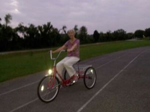 Mormor riding her new bike around the track at Challenger.