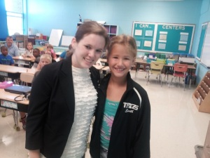 Serina, right, with her third grade teacher Ms. Graham.