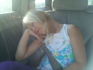 Sophia was so excited for the first day of school, she got up way too early. And fell asleep on the way to first grade.