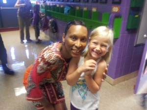 Sophia, right, with her first grader teacher, Mrs. Leslie.