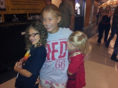 Serina, center, Sophia, right, and their buddy, Abagail, rock their Taylor Swift Ts.