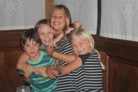Riordan, Lena, Serina and Sophia share a group hug!