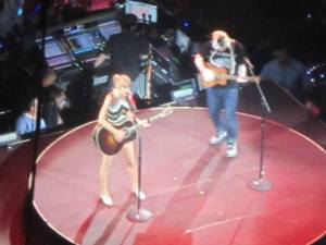 Morgan snapped this photo of Swift performing with Sheeran in the back of the stadium.