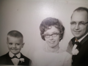 Mom and Dad, with Larry, on their wedding day, Oct. 23, 1965.