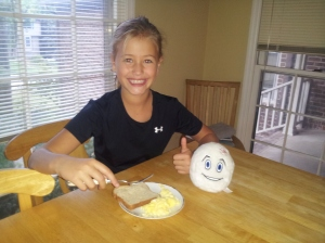 My oldest daughter, Serina, loves her EBs scrambled.