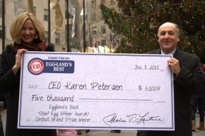"The official EB CEO presented me with the ""check"" at Rockefeller Center Sunday."