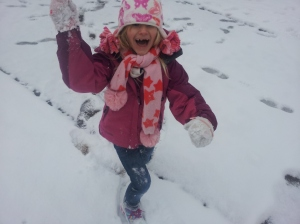 Sophia after hammering me with a snowball.