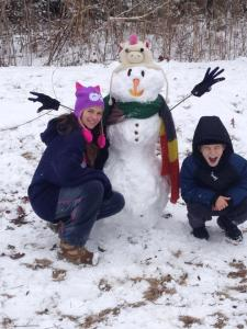 My friend, Ann Dennen, made a snowman with her kids. There was even snow left to spare!