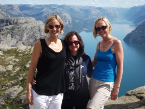 Christine Carey (c), my sister, Heidi (r) and I at the top of Prekestolen.