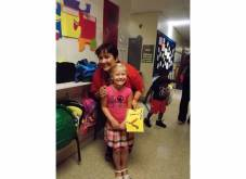 Sophia with Ms. VB on the first day of kindergarten, fall 2012.