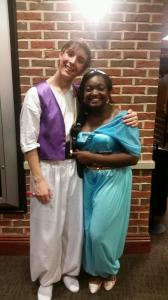 Aladdin (Guerin Tidwell) and Jasmine (Eboni Booker) following the matinee on July 18.